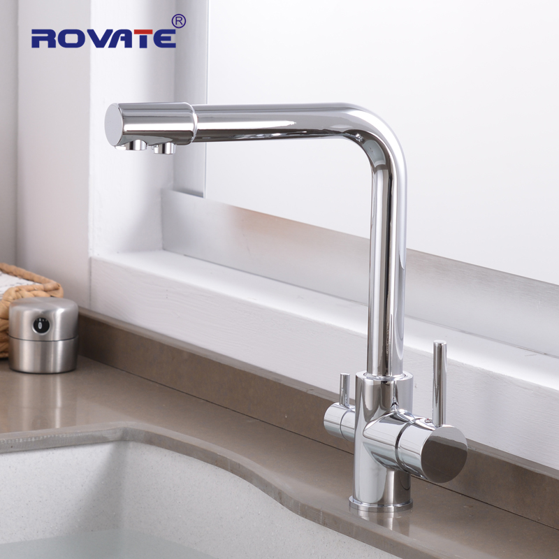 ROVATE Purifier Kitchen Faucet with Filtered Water 3 Way Water Filter  Waterfilter Tap Cold and Hot Sink faucet-in Kitchen Faucets from Home Improvement    1