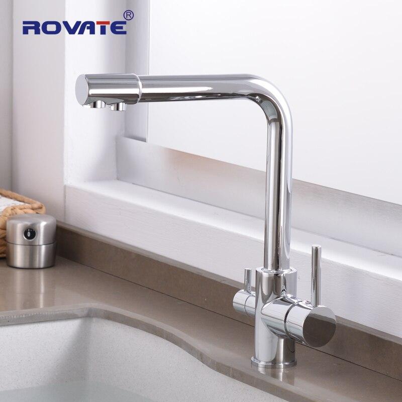 ROVATE Way Filtro de Água Purificador de Torneira Da Cozinha com Água Filtrada 3 Waterfilter Torneira Fria e Quente torneira da Pia
