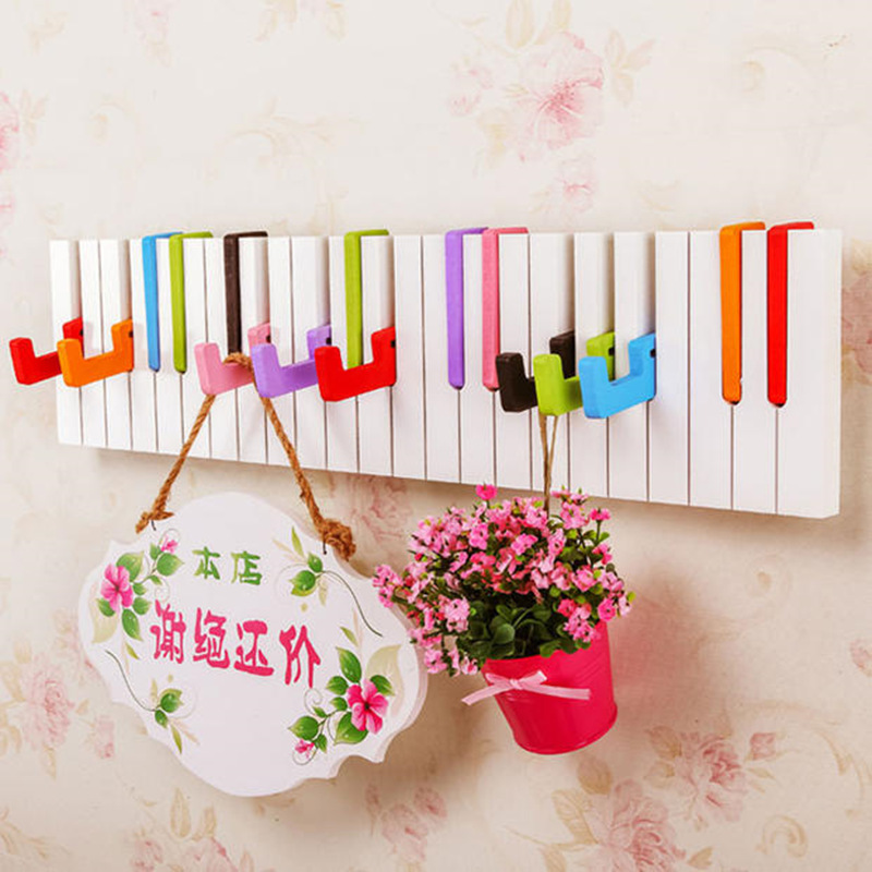 Creative Piano Design Wooden Wall Shelf With Hook Over Door Storage Rack Organizer For Clothes Hat Bag Key Holder Home Decor Bathroom Hardware Bathroom Fixtures