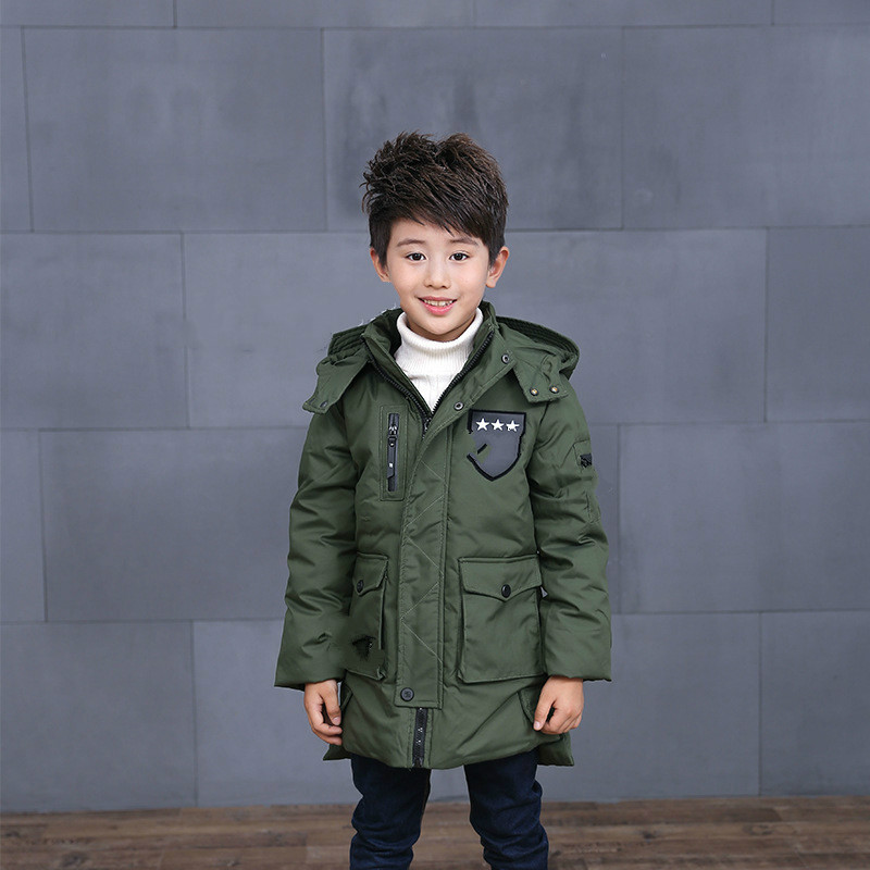 Winter new mid-aged childrens down jacket boys and girl grey duck down medium length Korean version of coat cap and down jacket hot sale 1 year warranty for the pm498 st973401ss 10k rpm sas 2 5 73gb hard disk drive new
