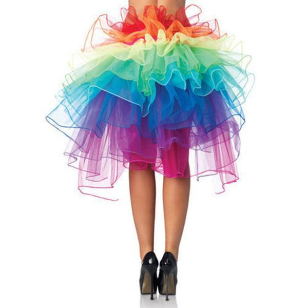 Sexy Women Rainbow Skirt Clubwear Dancing Skirt Tutu Layered Skirt Large Size Summer Beach Vestidos Organza Lace Up Colorful