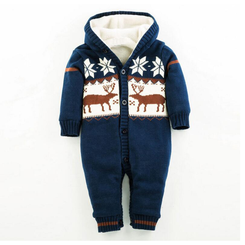 ФОТО Baby Rompers Winter Thicken Climbing Clothes Newborn Boy Girl Romper Knitted Sweater Christmas Hooded Outwear Jumpsuit