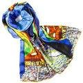 100% Bufanda de Seda Bufanda de Las Mujeres Noche Cafetería Chal De Seda 2017 diseñador de la Bufanda de Seda Pashmina Largo y Grueso Abrigo de Seda de Señora de Lujo de Regalo