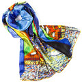 100% Silk Scarf Women Scarf Night Coffee Shop Silk Shawl 2017 Designer Scarf Silk Pashmina Long Thick Silk Wrap Luxury Lady Gift