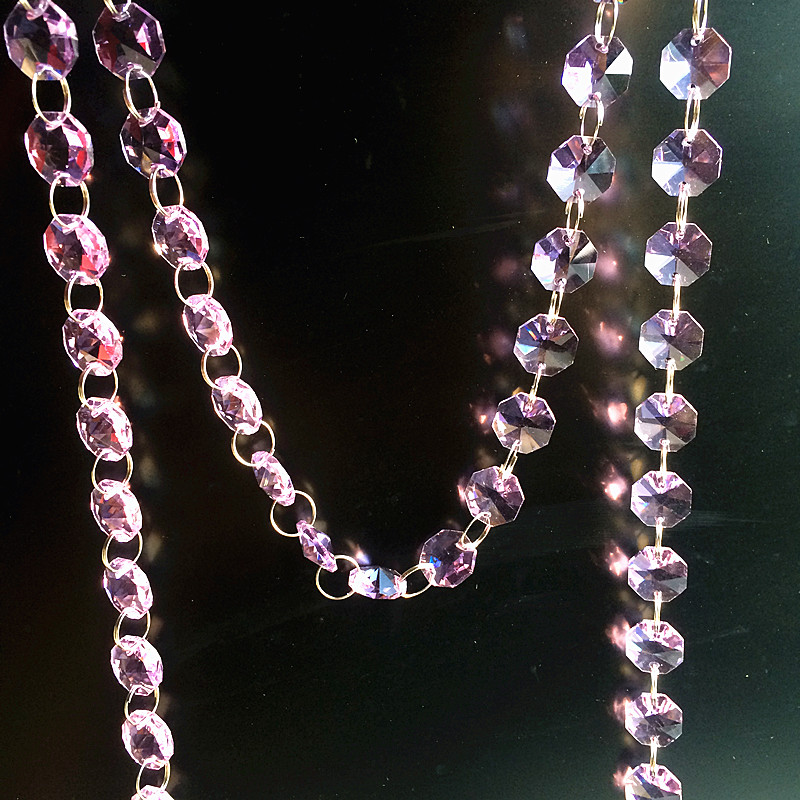 Free Shipping 10M 14mm Glass Crystal Octagonal Pink Beads Garland Strands For Chandelier Parts Wedding & Home Party Decoration