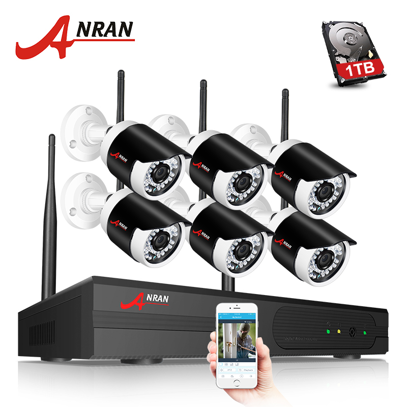 ANRAN Security Came system Wifi 8CH NVR 6pcs 960P Surveilcance Camera Outdoor IR Night Vision Security Camera Kit 1TB HDD mesbang 960p 8ch wifi wirless outdoor security system kit delivery with 7 inch monitor very fast by dhl fedex