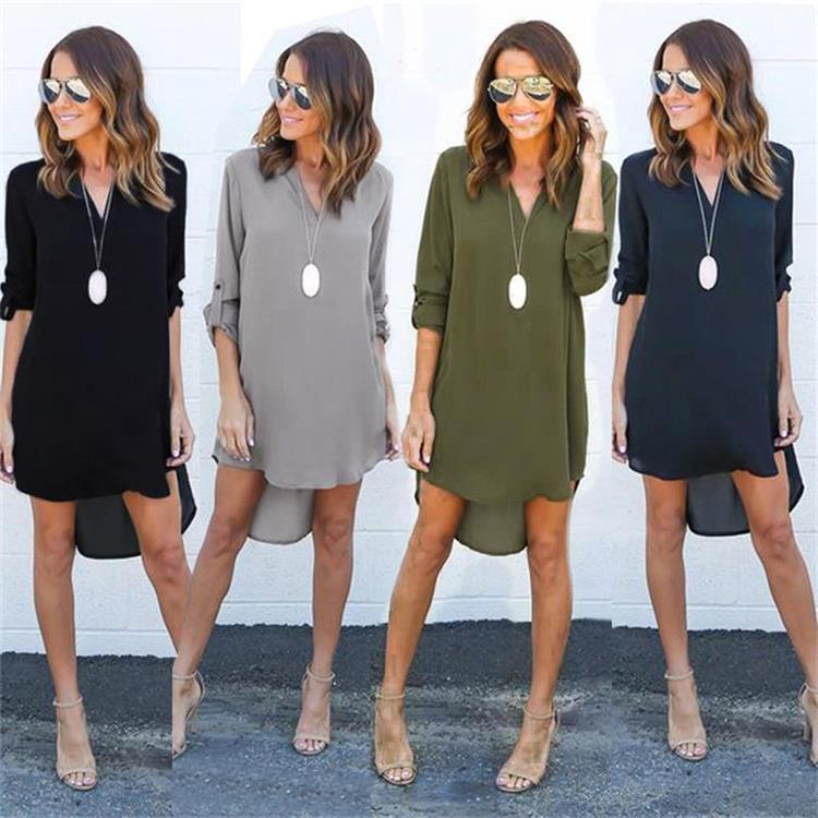 Short Summer Fashion Beach Dress - Long Sleeve Women Casual Dress 1