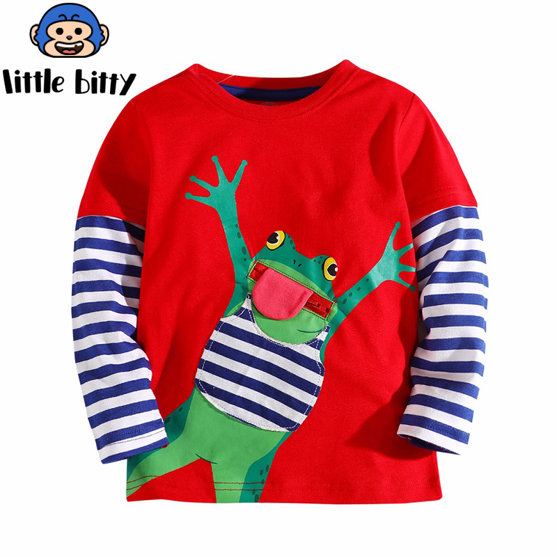 Boy Sweatshirt With Animal Applique 2018 Brand Children Autumn Long Sleeve Tops Boys Clothes Striped Kids T Shirts For Boy
