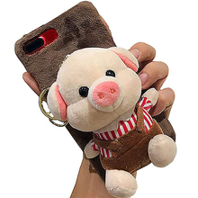 Cartoon Doll Toy Piggy Phone Case, 3d Cute Stripes Plush Strap Pig Soft Cover with Bracket Stand for 7 8  Case