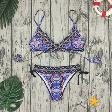 2019 Tie Vintage Print Bikini Set Women Sexy Mid Waist Swimsuit Folk Custom Swimwear Backless Beach Wear Bathing Swim Suit Girls