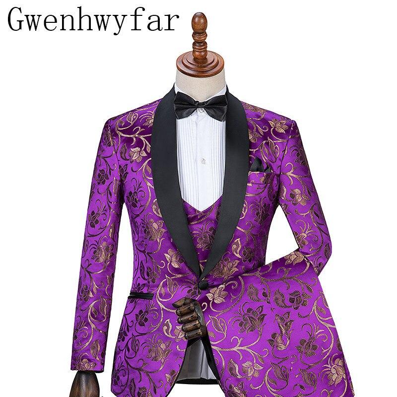 Gwenhwyfar di Nuovo Disegno Viola Con Fiore D'oro Abiti Reale Modello di Cambiamento di Colore di Cerimonia Nuziale di Usura di Inverno Indossare Abiti Sposo-in Completi uomo da Abbigliamento da uomo su  Gruppo 1