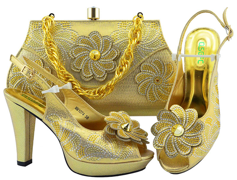 2018 New Arrival Nigeria Party Matching Shoes and Bag Set Shoe and Matching Bag for Wedding