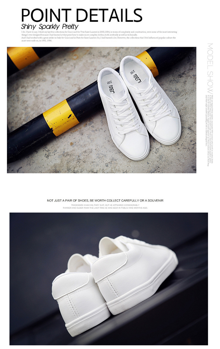 16 New Spring and Summer With White Shoes Women Flat Leather Canvas Shoes Female White Board Shoes Casual Shoes Female 3