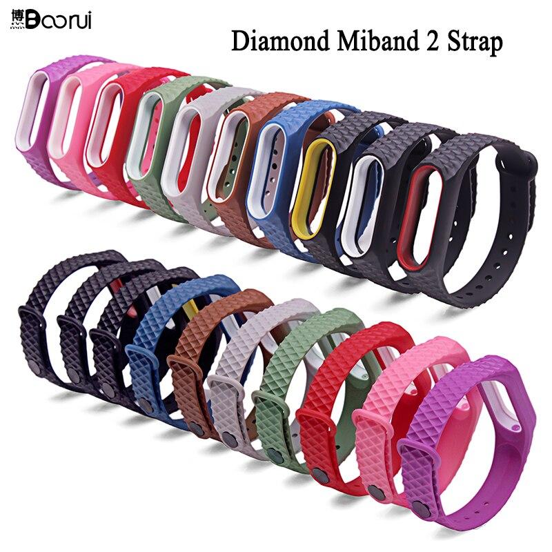 BOORUI Mi Band 2 Strap Pulseira Silicone Miband2 Accessories Diamond Wrist Strap  Anti-Lost Double Color Replacement Watchband