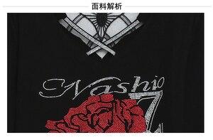 Image 5 - Korean Fashion V Neck Diamonds Rose Tshirt 2019 New Autumn Winter Women Top Clothes Slim Shirt Camiseta Mujer Streetwear T97616