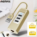 Remax USB Charger RU-U4 USB to RJ45 Lan Card Ethernet Network Cable+3 Port Hub for MacOS Win 8 7 XP 2015 Hot Selling HUB RU U4