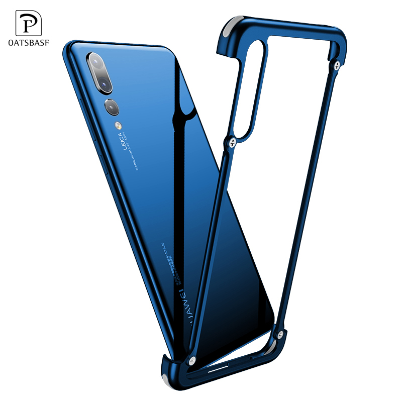 OATSBASF Luxury Airbag Metal Protection Case For Huawei P20 Case lite Personality Shell for Huawei P20 Pro Case Slim Metal Bumpe