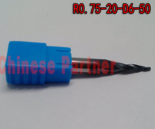 1pc R0.75*D6*20*50L*2F HRC55 Tungsten solid carbide Coated Tapered Ball Nose End Mills taper and cone milling cutter