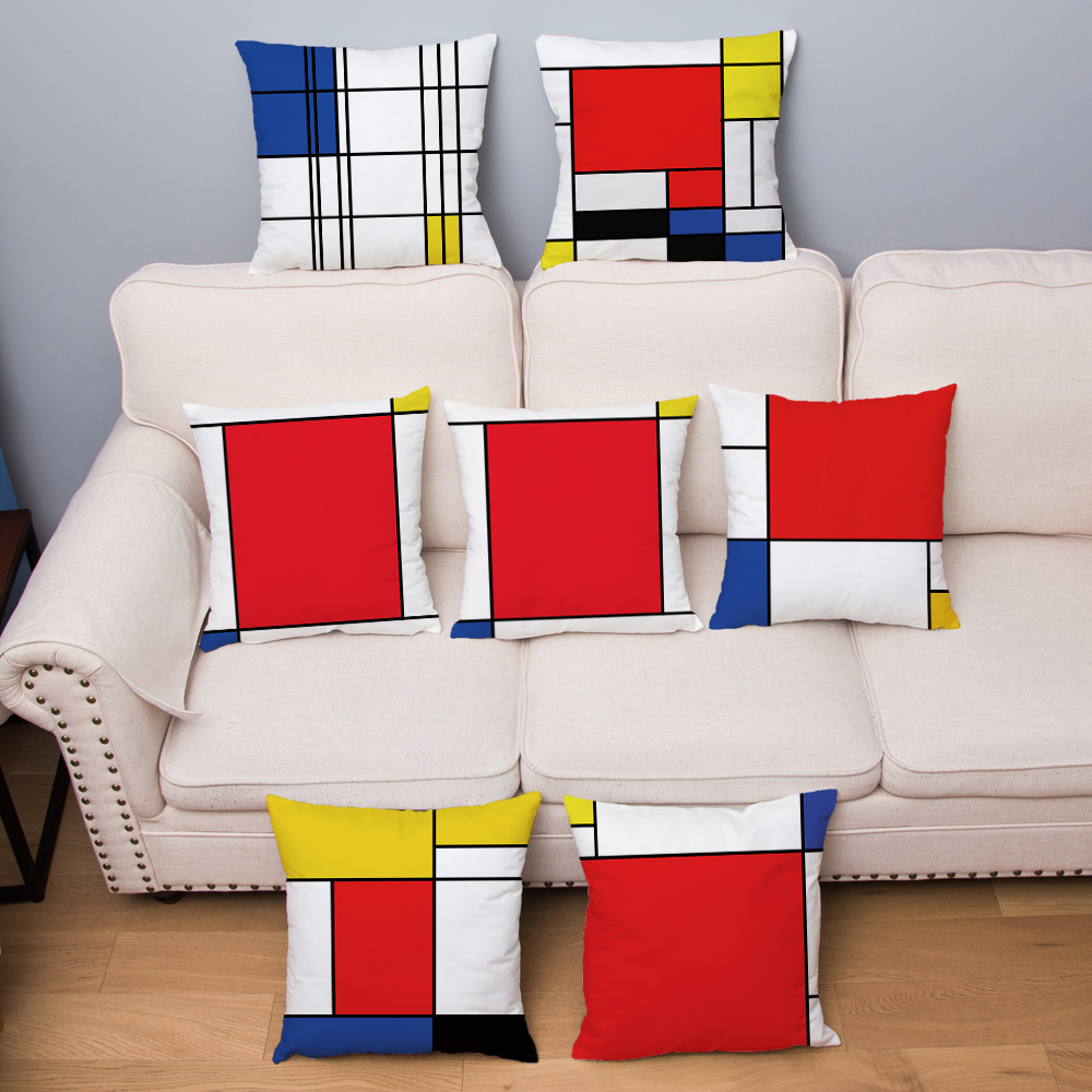 Mondrian Red Yellow Geometric Pillow Cover 45*45cm Cushion Cover Super Soft Plush Throw Pillows Cases Home Decor Cushion Covers