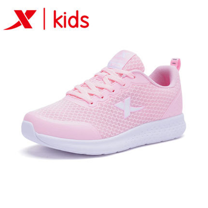 Xtep 2018 new cute pink girls sneakers running shoes outdoor walking sport shoes for Kids Children 682314119002 new hot sale children shoes pu leather comfortable breathable running shoes kids led luminous sneakers girls white black pink