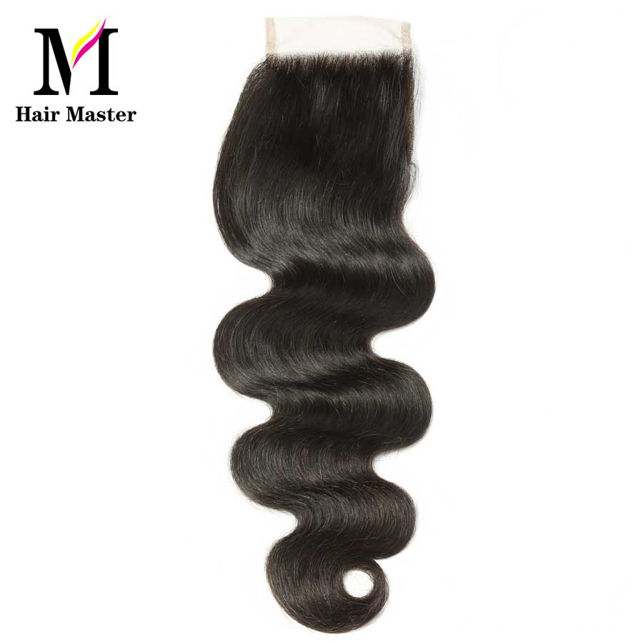 Hair Master Malaysian Body Wave Lace Closure 4x4 Free Middle Three Part Closures Remy 8- 22 Inch Human Hair Closure