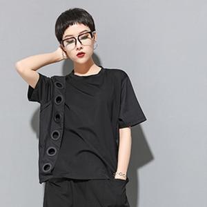 Image 4 - [Eam] 2020春夏新作ラウンドネック半袖黒中空スプリットジョイントビッグサイズのtシャツ女性ファッション潮JW045