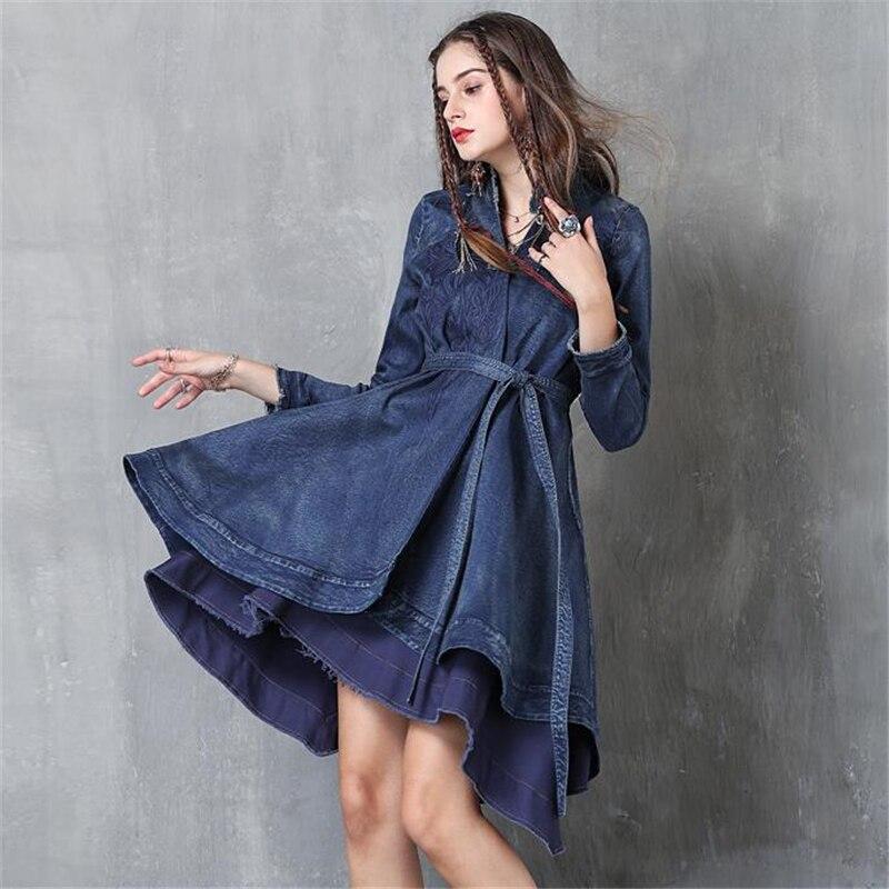 Brand Fashion Irregular Long denim jacket Autumn Winter Vintage Embroidered Belt Slim Jackets Women Long sleeves Jacket Coats