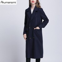 2017 New Autumn High Fashion Women S Wool Blend Trench Coat Casual Long Outerwear Loose Clothing