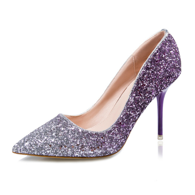 Sexy women high heels 2016 new fashion dazzling sequined high