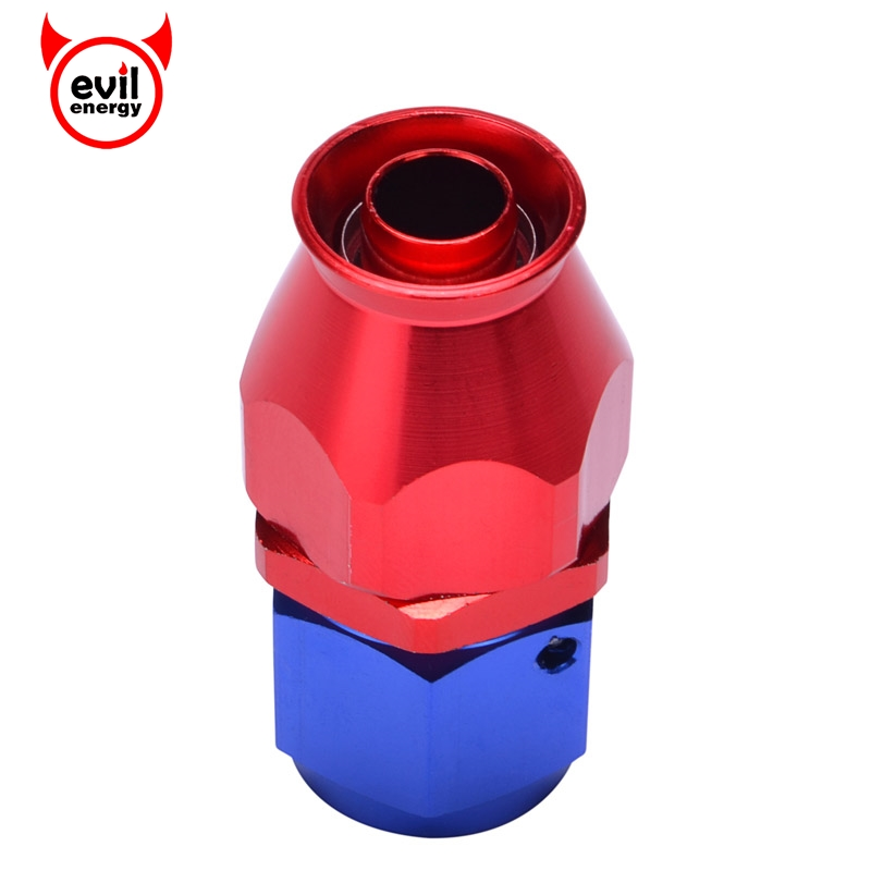 AN8 Reusable PTFE Fitting Tube To Female AN Adapter For PTFE Hose Red And Blue Straight Swivel Hose End
