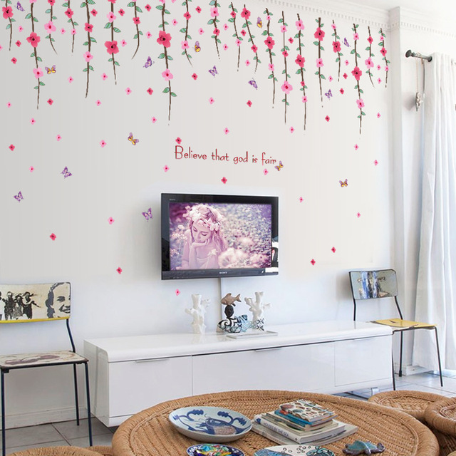 artificial drooping red flowers wall stickers women salon bedroom home  decor self adhesive papers glass window furniture decals b1fe53255b