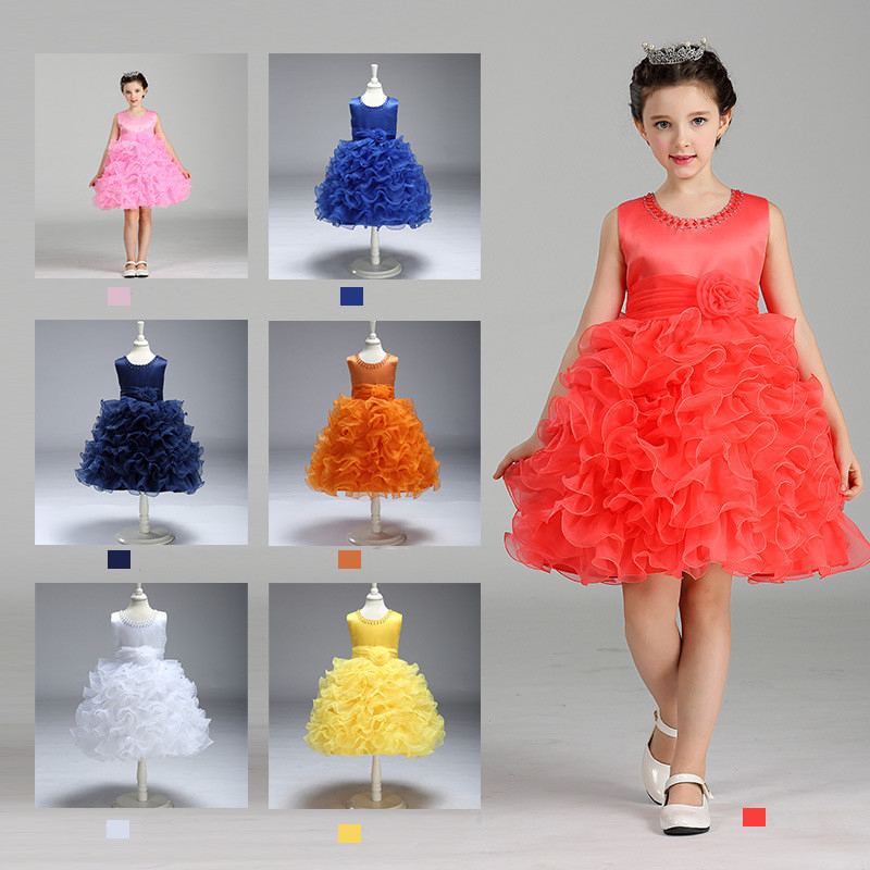 Flower Beading Girl Birthday Dress Sleeveless O-Neck Sweet Layer Formal Princess Gown Floral Vestido Clothes for 8 Years Kids marfoli girl princess dress birthday