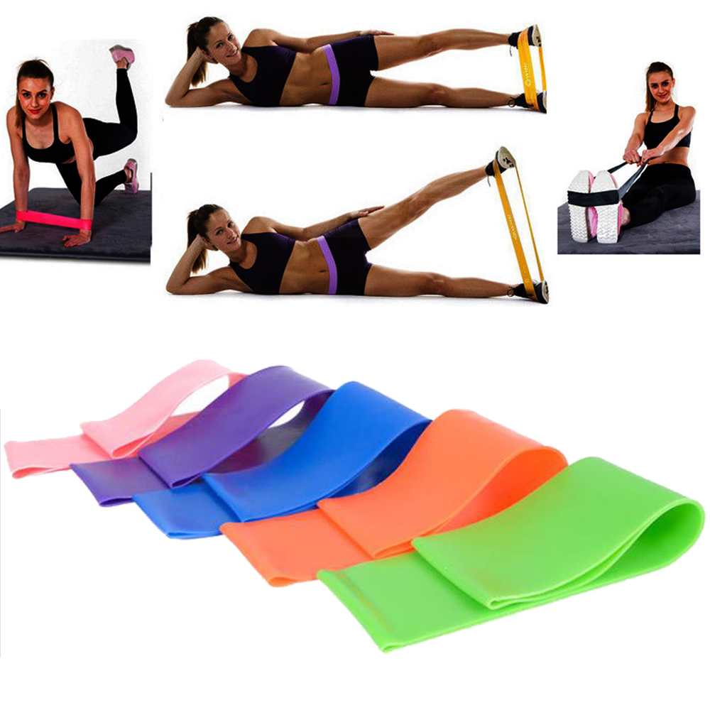 6 Kleuren Yoga Weerstand Elastiekjes Indoor Outdoor Fitness Apparatuur 0.5mm-1.1mm Pilates Sport Training Workout Elastische Bands Shrink-Proof