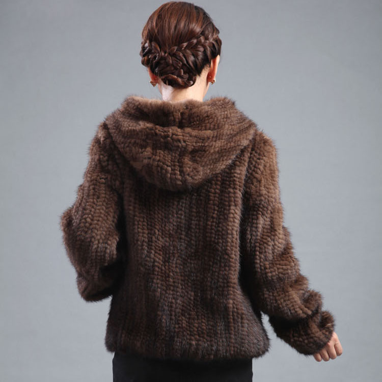 New mink fur coat women s long sleeve top fashion all match Mink knit jacket mink