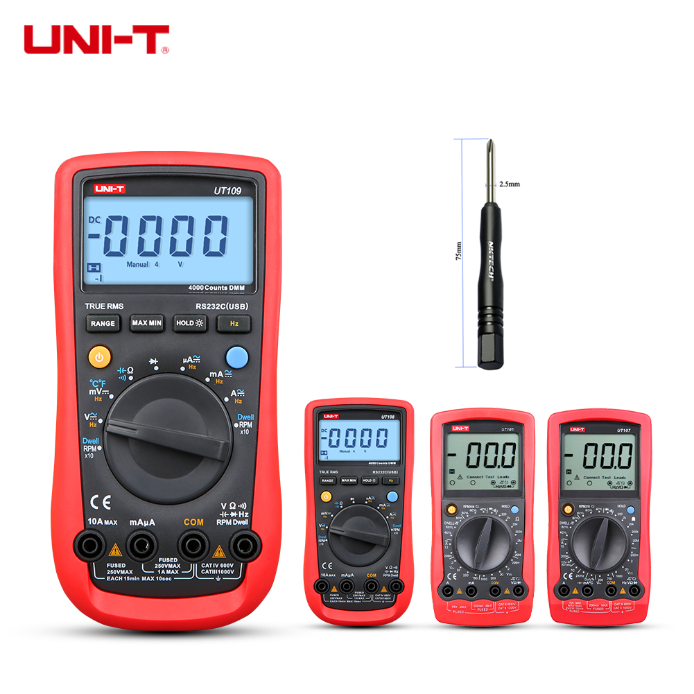 UNI-T Digital Multimeter <font><b>UT105</b></font> UT107 UT109 For Car Vehicle AC DC Volt DWELL Tach Battery Voltage Temperature Res Freq Test image