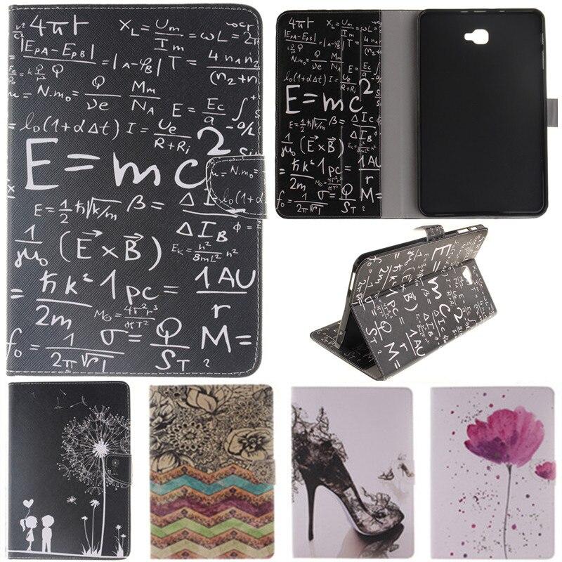 "Gullig Cartoon Lover Flower Formula Stand Flip Läderfodral till Samsung Galaxy Tab A A6 10.1 ""2016 T585 T580 T580N Tablet Cover"
