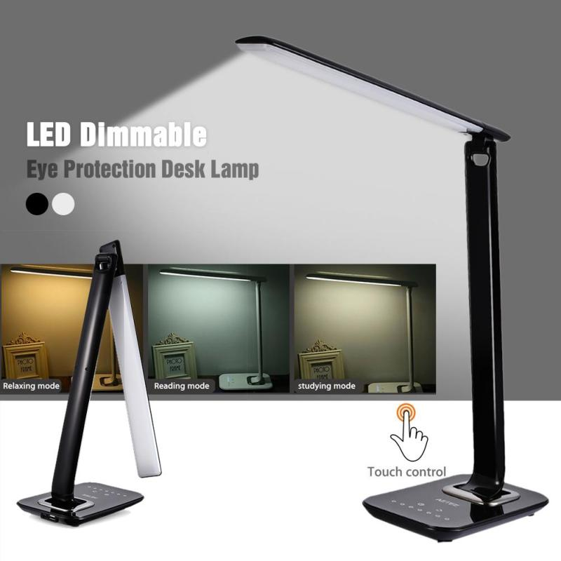 1PC LED Desk Lamp 15w Foldable Dimmable Rotatable Lights Eye Care Touch-Sensitive Light USB Charging Port Led Table Lamp aifeng led desk lamp foldable dimmable 5w 370lm desk table light usb charging touch night light eye care book reading desk lamps