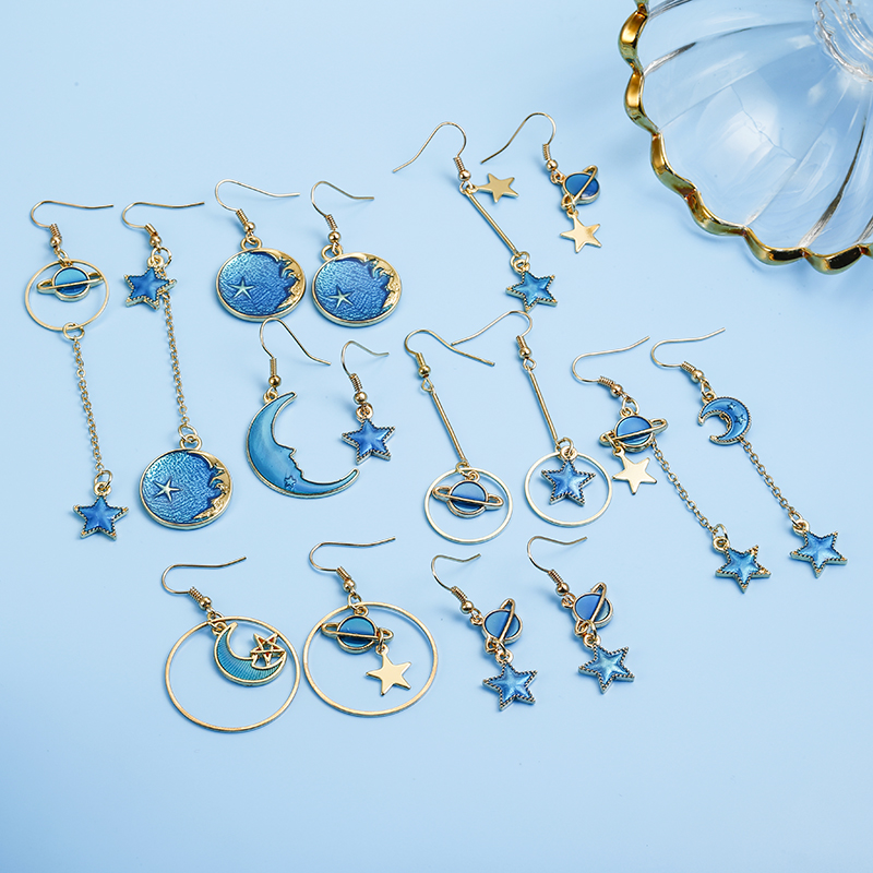 Long-Earrings Asymmetric Moon-Star Korean Blue Japan Women for Girl Spacecraft Brinco