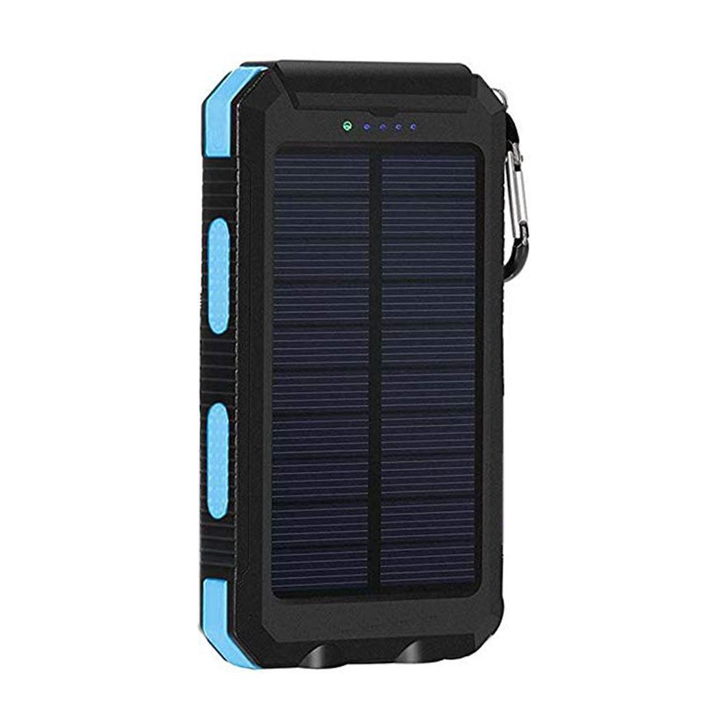 Водонепроницаемый Банк солнечной энергии для iPhone Двойной USB портативный повербанк с компасом двойной светодиодный фонарик 6000 mAh внешний аккумулятор - Цвет: blue