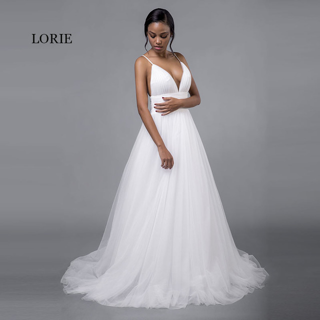 LORIE Cheap Wedding Dresses Princess Sexy Backless Spaghetti Strap Pleats Beach Tulle Real White Bridal Gown Free Shipping 1