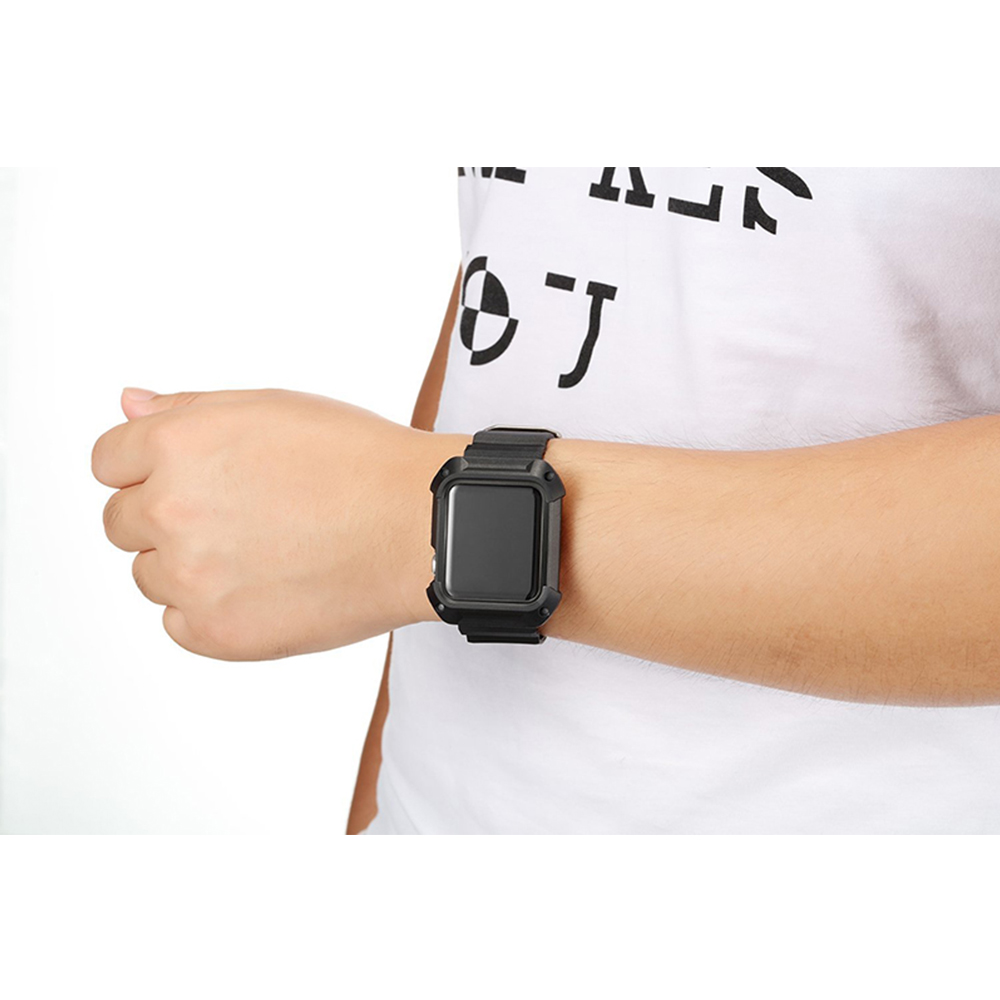 For Apple 38 42mm Sport Silicone Wristband shell Lightweight Breathable waterproof band For Apple 3 2 1 smart watch Accessories in Watchbands from Watches