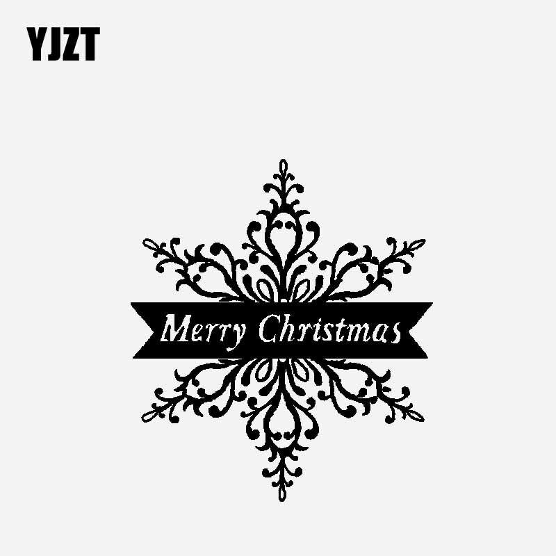 YJZT 16.4 ซม.* 18.6 ซม.Merry Christmas สติกเกอร์รถไวนิล Decal การออกแบบคริสต์มาสตกแต่งสีดำ/เงิน C23-0220