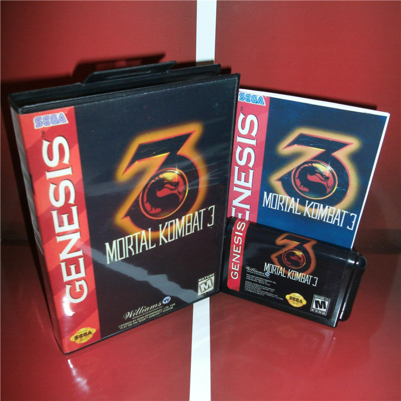 Sega games card - Mortal Kombat 3 with box and manual for Sega MegaDrive Video Game Console 16 bit MD card