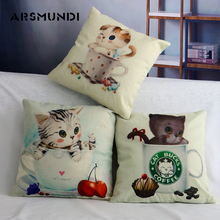 Cushion Cover Cute Cat Cup Printed Linen Decorative Pillow Cases Cover Home Sofa Bed Pillowcase Kitten  Chair Seat Cushion Cover недорого
