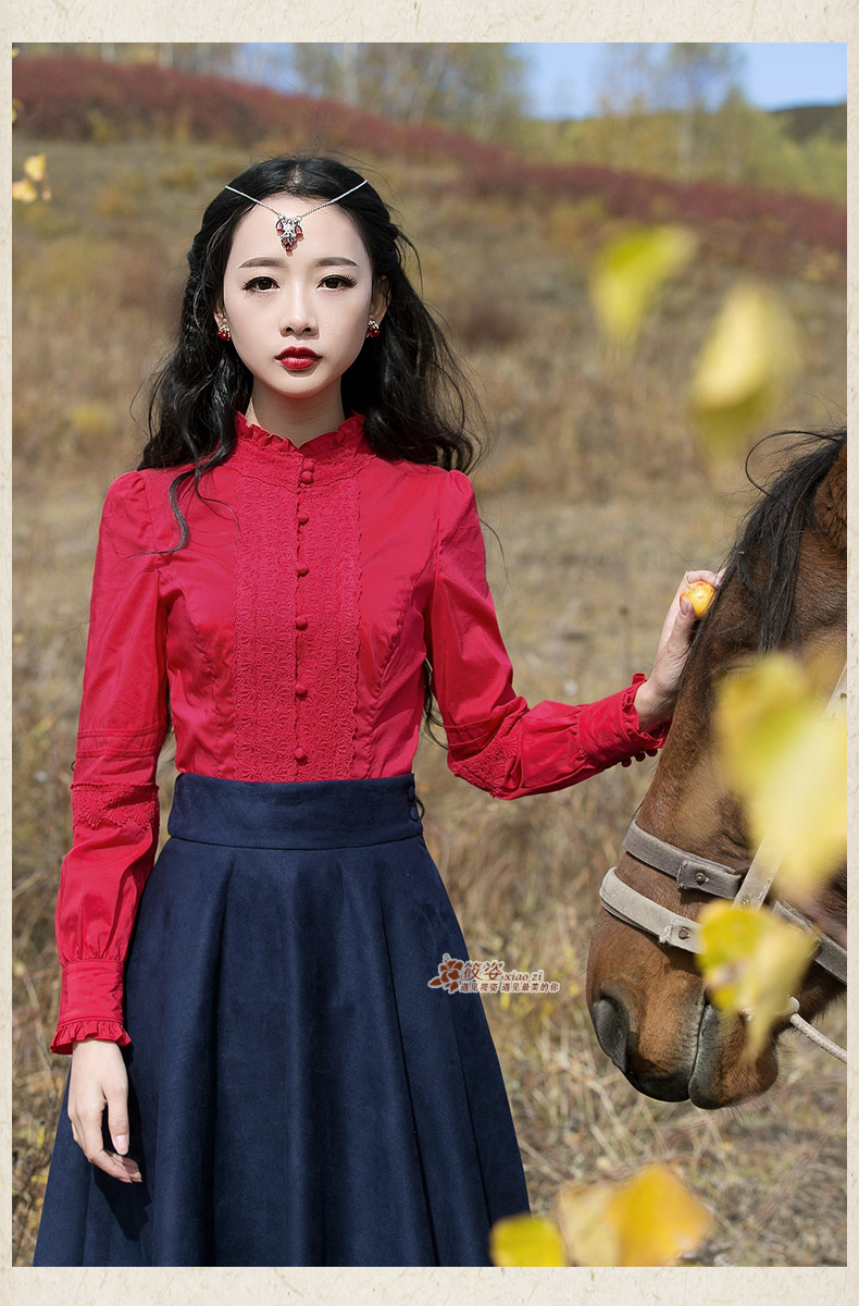 2016 Spring Red shirt new women princess on the horse stand collar lace body women clothing blusas y camisas mujer