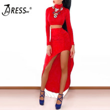 INDRESSME 2017 New Fashion Style Two Pieces Set Evening Party Ladies Bandage Dress