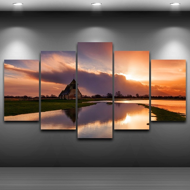 Church Lake Framed wall art picture Spray Oil Painting Decoration ...