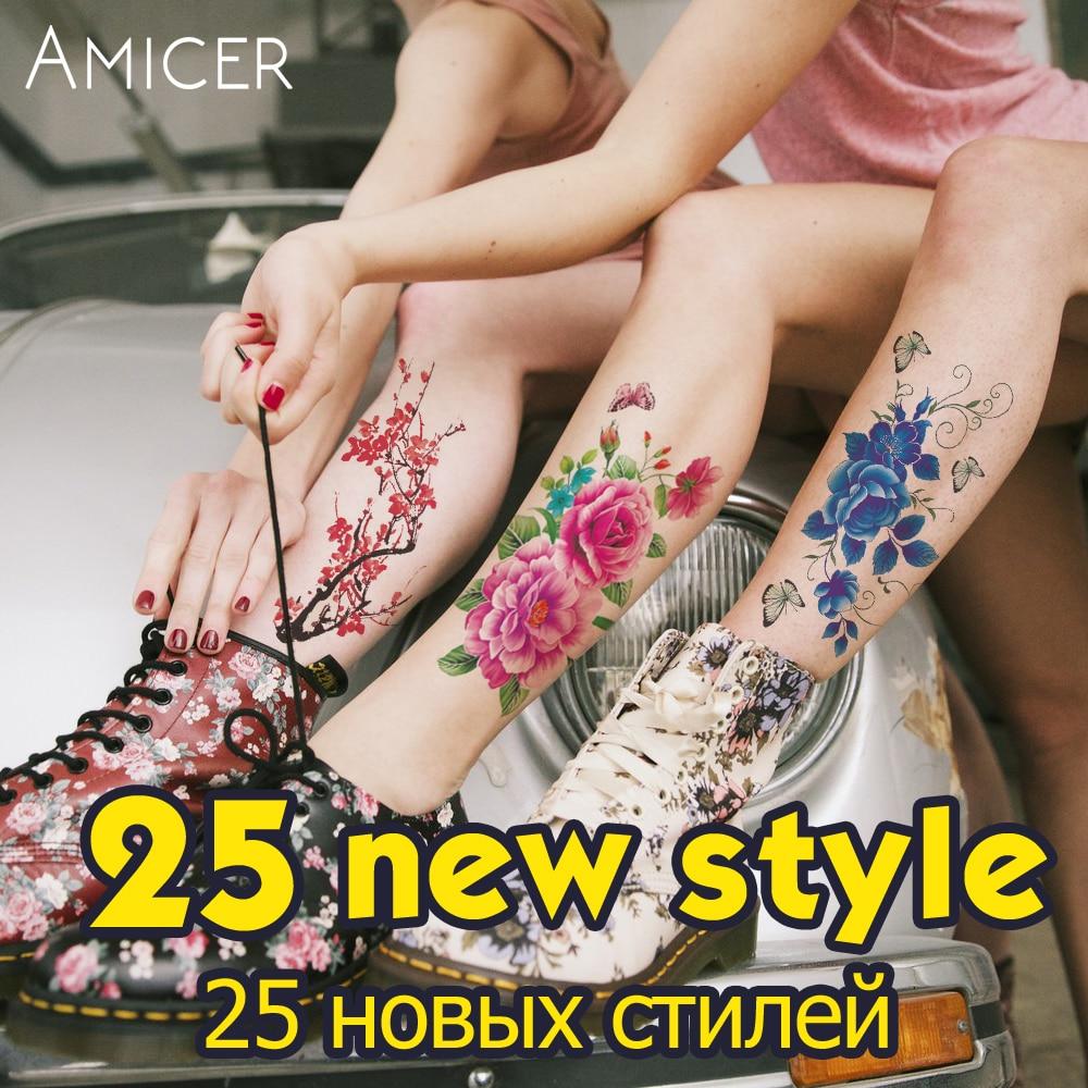 3D-virkelige Cherry blossoms rose store blomster tatovering Vanntett Midlertidige tatoveringer kvinner flash tatovering arm skulder tatovering klistremerker