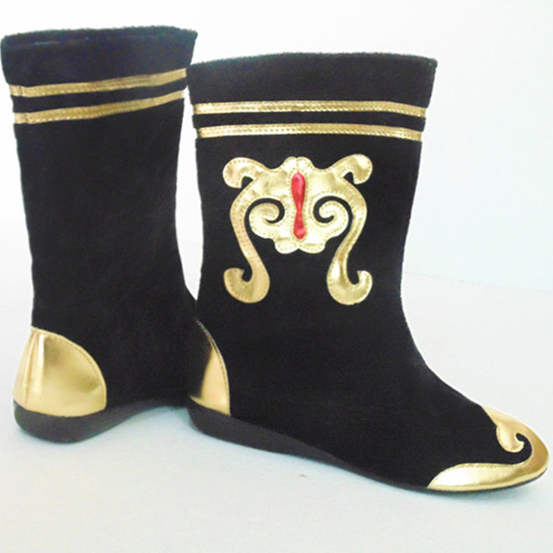 Men Black Mongolia Boots Ancient Chinese Dynasty Shoes
