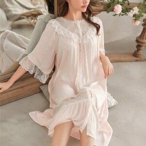 Image 5 - Süße Mode Weiße Spitze der Frauen Lange Nachthemden Sommer Halb Hülse Weiche Viskose Lose Weibliche Nachtwäsche Plus Größe